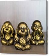 Three Buddha Statue Canvas Print