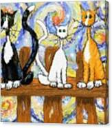 Three Cats On A Fence Canvas Print