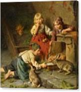 Three Children Feeding Rabbits Canvas Print