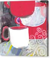 Three Coffee Cups Red And White Canvas Print