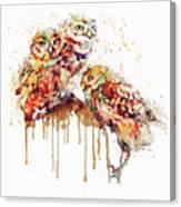 Three Cute Owls Watercolor Canvas Print