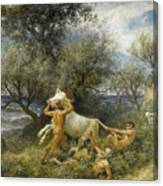 Three Faun With Cow And Calf Canvas Print