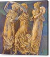 Three Female Figures Dancing And Playing Canvas Print
