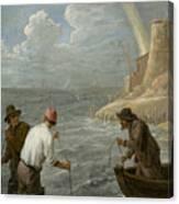 Three Fishermen Casting Their Nets Canvas Print