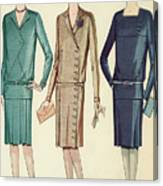 Three Flappers Modelling French Designer Outfits, 1928 Canvas Print
