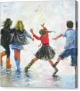 Three Girls And Boy Canvas Print