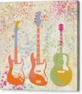 Three Guitars Paint Splatter Canvas Print