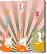 Three Guitars Pop Art Canvas Print