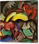 Three Horses 1912 Canvas Print