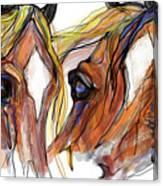 Three Horses Talking Canvas Print