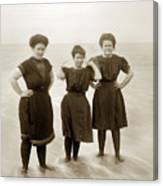 Three Ladies Bathing In Early Bathing Suit On Carmel Beach Early 20th Century. Canvas Print
