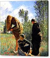 Three Ladies In A Field Canvas Print