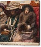 Three Ladies On Carriage Canvas Print