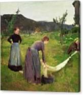 Three Ladies Washing Canvas Print