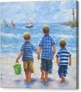 Three Little Beach Boys Walking Canvas Print