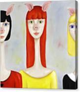 Three Little Pig Ladies  Canvas Print