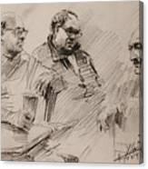 Three Men Chatting Canvas Print