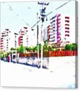 Three Modern Albanian Buildings Canvas Print