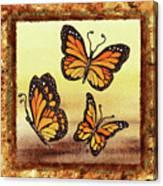 Three Monarch Butterflies Canvas Print