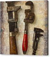 Three Old Worn Wrenches Canvas Print
