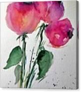 Three Pink Flowers 2 Canvas Print