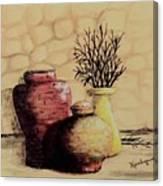 Three Pots And Twigs Canvas Print