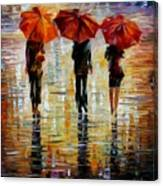 Three Red Umbrella Canvas Print