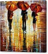 Three Red Umbrellas Canvas Print