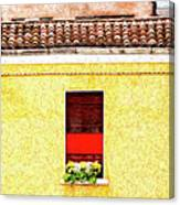 Three Red Windows With Flowers Of A Typically Italian House. Canvas Print