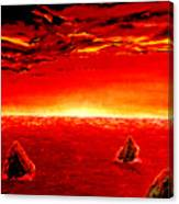 Three Rocks In Sunset Canvas Print