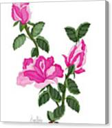 Three Roses In The Garden Canvas Print
