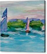 Three Sailboats Canvas Print