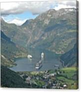 Three Ships At Geiranger Fjord Canvas Print