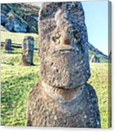 Three Standing Moai Statues Canvas Print