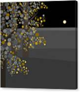 Three Trees In The Moonlight Canvas Print