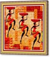 Three Tribal Dancers L A With Decorative Ornate Printed Frame. Canvas Print
