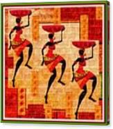 Three Tribal Dancers L B With Alt. Decorative Ornate Printed Frame. Canvas Print