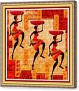 Three Tribal Dancers L B With Decorative Ornate Printed Frame Canvas Print