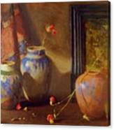 Three Vases With Impressionist Painting In Background Canvas Print