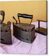 Three Vintage Irons Canvas Print