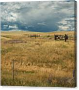 Three White Horses And Corral Canvas Print