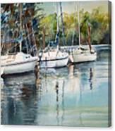 Three White Sails Docked Canvas Print