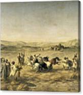 Threshing Wheat In Algeria Canvas Print