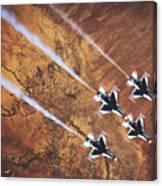 Thunderbirds In Diamond Roll Formation Canvas Print