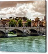 Tiber River, Ponte Sant'angelo And St. Peter's Cathedral, Roma, Italy Canvas Print