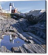Tide Pool Reflection Pemaquid Point Lighthouse Maine Canvas Print
