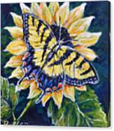 Tiger And Sunflower Canvas Print