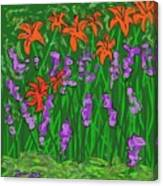 Tiger Lilies And Purple Hostas Canvas Print