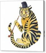 Tiger With Pipe Canvas Print