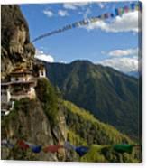 Tiger's Nest Prayer Flags Bhutan Canvas Print
